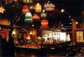 restaurant internal shot with lamp shades